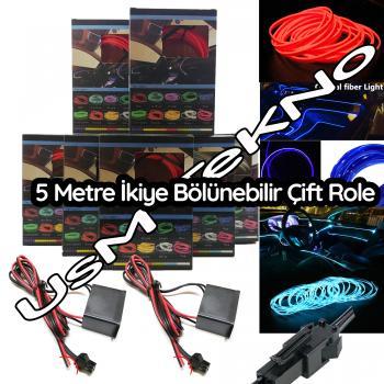 Araç İçi 5 Metre İp Neon Led Fitilli Torpido Ledi Neon Led Lamba İp Led