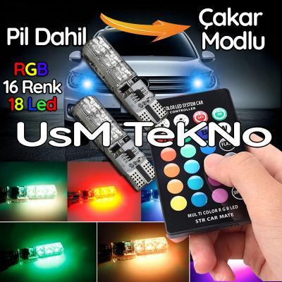 Kumandalı Çakarlı T10 Araç Park Ampulü ( 2 Adet ) 18 Led RGB Led