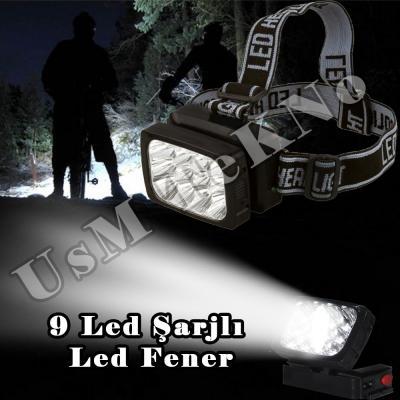 Av Kafa Lambası Led Kafa Feneri 2 modlu  9 Led Şarj Edilebilir El Feneri