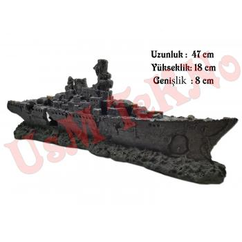 Akvaryum Dekoru Büyük Savaş Gemi Model 47X8X18 cm, Akvaryum Batık Gemi, Akvaryum Aksesuarı