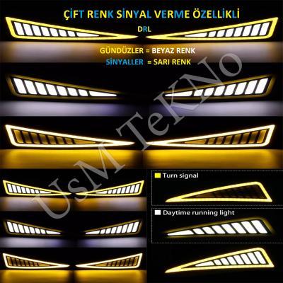 Araç Gündüz Farı Led Far Çift Renk Honda Tasarım Gündüz Ledi Sinyal özellikli