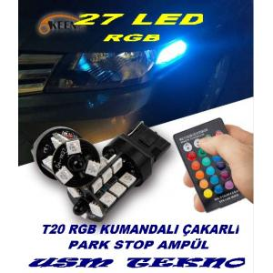 T20  Kumandalı Çakarlı Park Ampulü Stop Ampül RGB Led Ampul