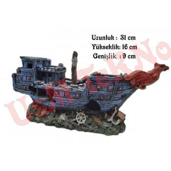 Akvaryum Dekoru  Savaş Gemi Model 31X9X16 cm, Akvaryum Batık Gemi, Akvaryum Süsü