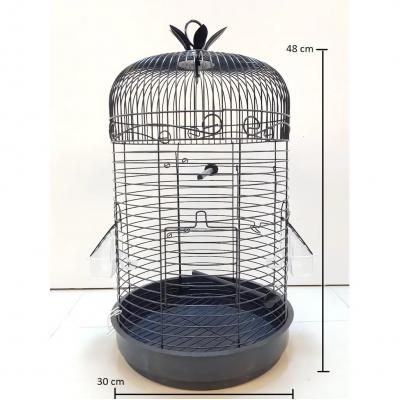 Muhabbet Kuşu Kafesi Silindir Kafes  2 Papağan Kanarya Kafesi 48x30cm