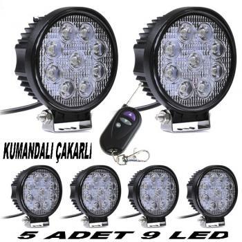 Off Road Sis Farı Sis Lambası 5 ADET 9 LED  Kumandalı Çakarlı
