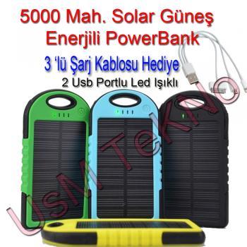 5000 Mah Solar Güneş Enerjili PowerBank ( Şarj Aleti )