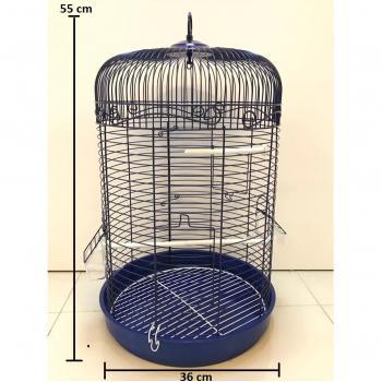 Silindir Kafes Muhabbet Kuşu No:3 Papağan Kanarya Kafesi Mavi 55x36cm
