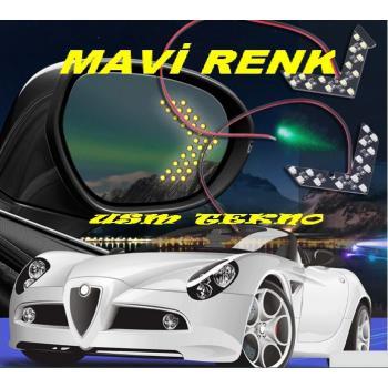 ( MAVİ ) Araç Oto 2 ADET Yan Dikiz Ayna Led sinyal Ayna İçi Sinyal Led Drl Sinyal Lambası (Kampanya)