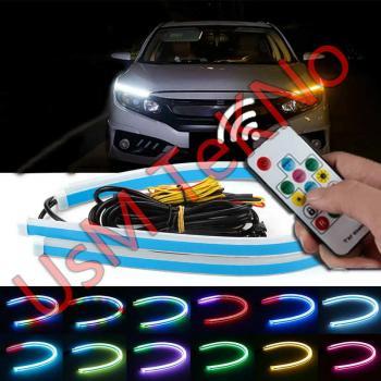 60 Cm Araç Gündüz Farı Led Kumandalı RGB Gündüz Farı Kumandalı Modül Fonksiyonlu Led Gündüz Far