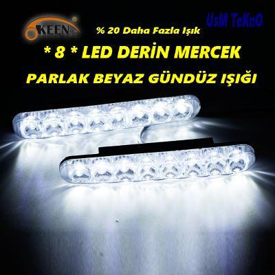 8 LED Oto Araç Gündüz Farı ( Gündüz Işığı ) Led Sis Lambası