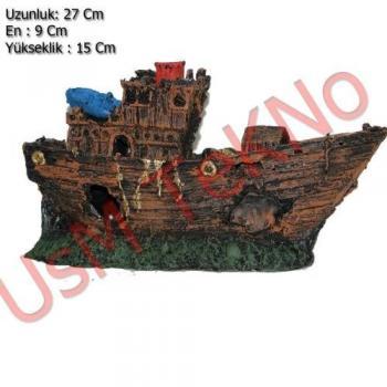 Akvaryum Dekoru Büyük Gemi Model 27X9X15 cm,