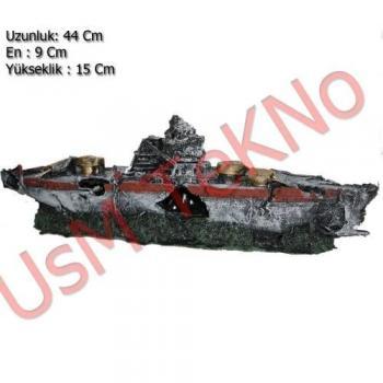 Akvaryum Dekoru Büyük Savaş Gemi Model 44X9X15 cm,