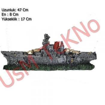 Akvaryum Dekoru Büyük Savaş Gemi Model 47X8X17 cm,