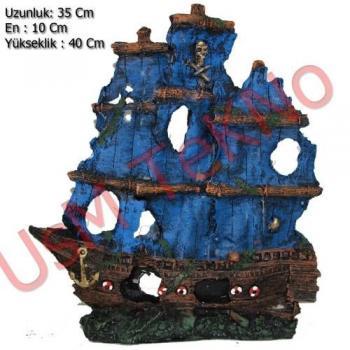 Akvaryum Dekoru Büyük Yelkenli Gemi Model 35X10X40 cm,