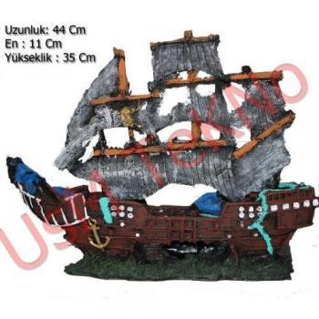 Akvaryum Dekoru Büyük Yelkenli Korsan Gemisi 44X11X35 cm