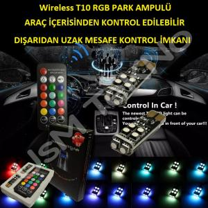 T10 Kumandalı Park Ampulü Wireless Rgb Kumandalı Çakarlı Ampul
