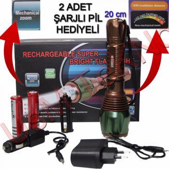Şarjlı El Feneri Kamp Fener Avcı Çakarlı Polis Feneri